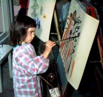 Me, painting at kindergarten