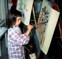 Me, painting at kindergarten