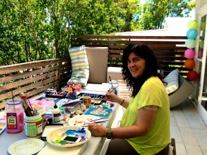 "Paula painting in our ""Boxing Day"" art workshop!"