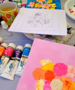 Paula's art (top) and mine (bottom) in progress ...