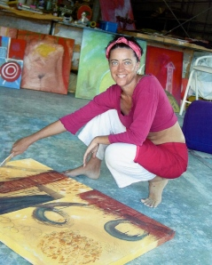 Martha painting in her studio in Noosa
